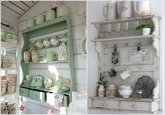 Put your collections in shelves with shabby chic design.