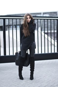 Style...COTTDS // fall style // all black // OVERKNEE BOOTS / ZARA