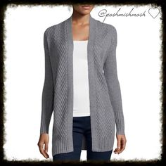 """Gray Sweater Cardigan Enhance your layered look with this richly textured, chevron-patterned flyaway cardigan. approx. 32"""" length  cotton/acrylic/polyester machine wash, dry flat Sweaters Cardigans"""