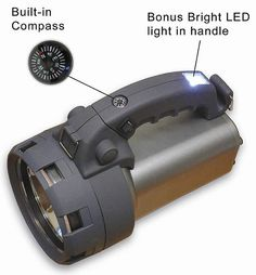"Super Bright LED and Halogen Spotlight - Handheld (Silver) (7.25"" H x 6.75"" W x 10"" D)"
