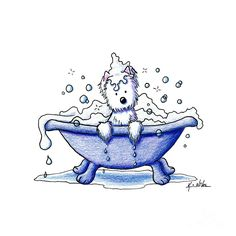 Westie Terrier Art Print featuring the drawing Muggles Bubble Bath by Kim Niles Bath Art, West Highland Terrier, Bubble Bath, Cairn Terriers, Westies, Dog Art, Animal Drawings, Fine Art Prints, Canvas Prints