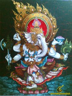 Ganesh the warrior wreathed in flames and dancing fiercely