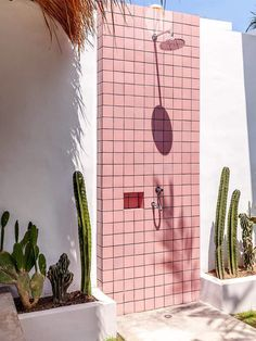 Exterior Design, Interior And Exterior, Outdoor Bathrooms, Outdoor Showers, Outdoor Bathtub, Pink Tiles, Desert Homes, Anything Is Possible, Spring Home