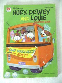 Vintage Walt Disney Huey Dewey and Louie Coloring Book 1976 Unused Whitman  www.hamptoncollect.com