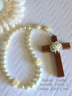 Anglican Swarovski Pearls & Roses Rosary, Protestant Prayer Beads, Vintage Wood Cross, Elegant Prayer Beads, Episcopal Rosary by FaithExpressions on Etsy