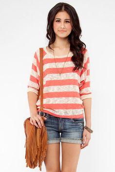Jenny Striped Sweater in Coral $24 at www.tobi.com