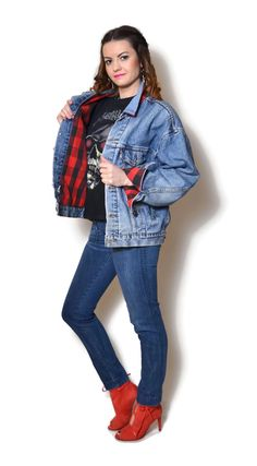 levis jacket vintage, denim jacket flannel shirt  US$99.95