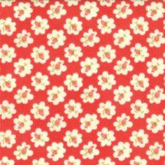 Tissu patchwork fleur de coton fond rouge - Avalon de Moda