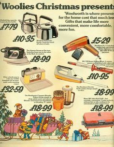 "Woolworths Christmas 1976. That Goblin Teasmade's alarm was bloody deafening! I remember that we had most of these products at sometime, but not until the early 1980s. ""We were so poor then that..."" etc. etc."