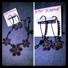 Betsey Johnson Necklace and Earring set NWOT Necklace: Twilight crystal flowers are enchantingly suspended on this drama necklace by Betsey Johnson. Crafted of Black-Tone mixed metal.  Approximate lengths: 16 inches + 3 inch extender. Approximate drop: 1-1/2 inches MSRP $65  Earrings: Muted and subtle crystal colors create a dark starflower on these drop earrings by Betsey Johnson. Also crafted of Black-Tone mixed metal.  Approximate drop: 2-1/4 incheS MSRP $35 Betsey Johnson Jewelry…