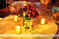 Gold geometric vases and cranberry florals!