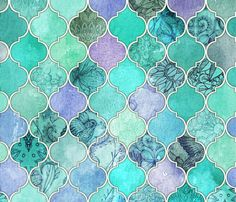 Pale Mint & Lilac Decorative Moroccan Tiles LARGE fabric by micklyn on Spoonflower - custom fabric