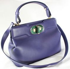 """~~~ WAAAY SPECIAL ~~~ $2,900 BVLGARI """"ISABELLA ROSSELLINI"""" BLUE LEATHER TOTE BAG #Bvlgari #TotesShoppers"""