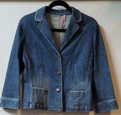 Gianni Bini Blazer Jacket  Sz Large Stretch Blue Jean 3/4 Sleeve Pockets #GianniBini #JeanJacket #Casual