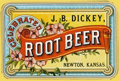 Dickey Root Beer Newton Kansas Vintage Label Postcard created by TheGoodOldDays. Posters Vintage, Vintage Images, Vintage Tins, Vintage Labels, Vintage Food, Vintage Style, Retro Vintage, Root Beer, Newton Kansas