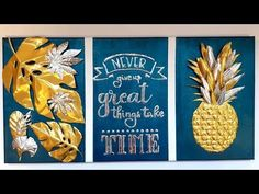 Couleurs et motifs ''tendance'' associés à des feuilles d'aluminium... voici deux tableaux aux reliefs lumineux que chacun peut réaliser en toute simplicité. Diy Tableau, Boutique, Home Deco, 3 D, Pineapple, Fruit, Motifs, Voici, Aluminium Foil