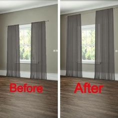 #12. How to hang your curtains to give the illusion of larger windows. -- 27 Easy Remodeling Projects That Will Completely Transform Your Home
