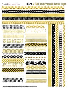 Gold Foil Printable Planner Stickers Kit for by DigiScrapDelights  #gold #black #newyears #planner #kit #decoration #stickers #organization #elegant #foil #digital #printable #digiscrapdelights #pomplanner
