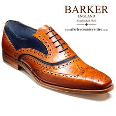 Barker Shoes - McClean Brogue - Cedar Calf & Blue Suede