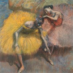 Two dancers yellow and pink (1898). Edgar Degas (French, 1834-1917). Pastel on paper. Museo Nacional de Bellas Artes, Buenos Aires.  The dancers are resting, exhausted after their activity, seated, trying to alleviate their fatigue. One rubs her ankle while the others adjusts her companion's costume almost through inertia. In these final works from the 1890s the colors are strong, the lines are thick and the spaces portrayed can seem unreal.