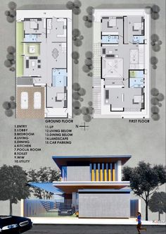 House Layout Plans, House Layouts, Bungalow House Design, Small House Design, Architecture Interiors, Architecture Plan, Residential Building Plan, Architectural Floor Plans, Interior Design Presentation