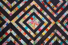 Ooh... I like this idea... Like the quilt I made for Sara and I, except a more interesting design. String Quilts, Quilting Projects, Quilting Designs, Quilting Ideas, Sewing Projects, Scrappy Quilts, Patchwork, Postage Stamp Quilt, Quilt Patterns