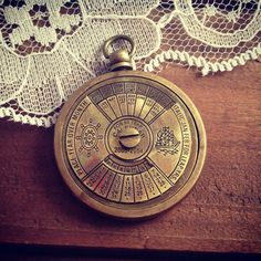 1 - 50 Year Perpetual Calendar Pendant, Antique Brass, Really WORKS, Nautical, Vintage Jewelry Supplies