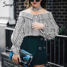 Simplee Off shoulder top striped shirt with choker Long sleeve blouse shirt women tops 2017 summer chemise femme casual blusas Casual Outfits, Fashion Outfits, Womens Fashion, Ladies Fashion, Fashion Ideas, Fashion Shirts, Striped Off Shoulder Top, Neue Outfits, Ladies Dress Design