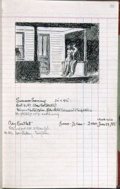 """""""Edward Hopper--page 25 from Artist's ledger—Book III, From the Whitney Museum of American Art, NYC. Artist Sketchbook, Whitney Museum, Art Plastique, Famous Artists, American Artists, Artist At Work, Oeuvre D'art, Art Sketchbook, Libros"""