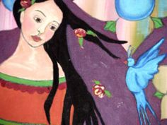 Signed Mexican Folk Art Print Girl with Roses and Blue Bird mounted on Wood