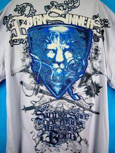 Born Sinners Men's 5XL Shirt Lion Shield Blue 3D Spandex LS Hip Hop Club Wear #BornSinners #ButtonFront