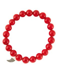 8mm Red Coral Beaded Bracelet with 14k Gold/Diamond Small Horn Charm (Made to Order)