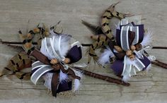I like the idea of pheasant feathers in the boutineers. Maybe with dried white and purple heather?