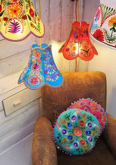 Folklandia is a mini collection of bright hand embroidered cushions and lampshades from Disaster Designs – released end of April. Bohemian Furniture, Bohemian Decor, Disaster Designs, Handmade Lampshades, Painting Lamp Shades, Lampshade Designs, Ideas Prácticas, Thrift Store Crafts, Embroidered Cushions