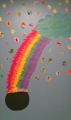 Rainbow St. Patrick's Day bulletin board I did.