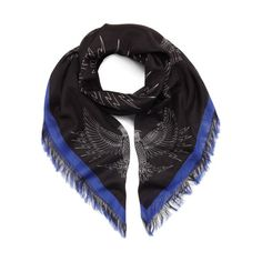The Georgia May Jagger collection has arrived - Georgia May Jagger Printed Stole in Black & Sapphire Blue Owl Print in Cotton Silk Blend