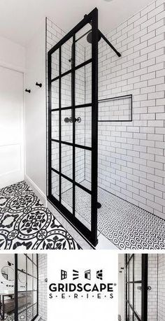 Gridscape Fixed Shower Screen Panel in Black with Clear Glass Coastal Gridscape Splash Panel Glass Divider with Black Factory Window Frame Bathroom Renos, Basement Bathroom, Small Bathroom, Bathroom Showers, Bathroom Black, Bathroom Mirrors, Bathroom Hardware, Bath Shower, Master Bathrooms