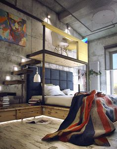 Love the industrial loft with the raised bed and the floating stairs!!