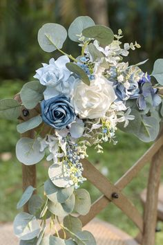 wedding flowers Chair Decoration - Set of 2 - Rustic Marsala Blue Wedding Flowers, Wedding Flower Arrangements, Bridal Flowers, Bridal Bouquets, Wedding Bouquet Blue, Blue Wedding Colors, Brooch Bouquets, Floral Arrangements, French Blue Wedding