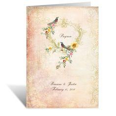 vintage birds wedding program   ceremony programs at Invitations By Dawn