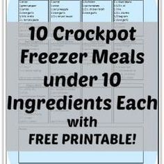 10 Crockpot Freezer Meals under 10 Ingredients Each.  Someone needs to get a crockpot so we can totally do this!