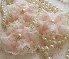Shabby Chic ivory/pink Lace flowers sew on fabric emellishments for hair pin accessory