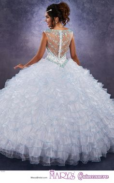 Princess style 4Q481 • Organza quinceanera ball gown with beaded bodice, illusion scoop neck line, illusion back with zipper closure, beaded basque waist line, and ruffle skirt.