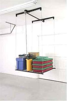 Roof-Mounted Garage Storage Stock Rack HeavyLift Ceiling Elevator,Pulley System