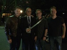 Rich Moore ‏@_rich_moore :  Me w/ @joshdallas, @thejaredbush and our saber wielding pal Andre, aka Coco LaRue #DontAskLongStory @DisneyAnimation