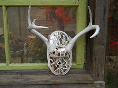 Painted deer antlers with mosiac mirror by patscraftingagain, $115.00