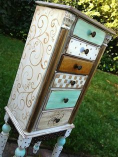 Jewelry Armoire CINDERELLA hand painted Shabby Chic with damask polka dots distressed in white cocoa brown metallic bronze and a subdued - March 02 2019 at Whimsical Painted Furniture, Hand Painted Furniture, Funky Furniture, Repurposed Furniture, Shabby Chic Furniture, Furniture Projects, Furniture Makeover, Wood Furniture, Bedroom Furniture