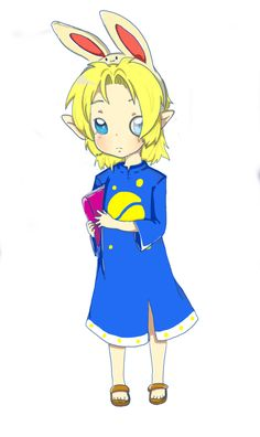 An art trade with Dekugirl (I forgot the username) this is Ona, an old Zelda fan made character. He was the second oldest of the three Zelink kids I made years ago. Tags: the legend of zelda, bunny hood, hylian, kawaii, adorable, male, boy, ona, oc, fc, link, zelink, smart, elf, hylian, nintendo