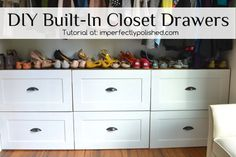 Master Closet Organization Diy Drawers Ideas For 2019 Clever Closet, Closet Shoe Storage, Closet Drawers, Diy Drawers, Closet Shelves, Dresser In Closet, Shoe Closet, Wardrobe Storage, Closet Doors