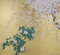 Shunju Spring by Morita Rieko. Japan Painting, Plant Painting, Ink Painting, Watercolor Art, Japanese Art Styles, Japanese Prints, Feuille D'or, Colorful Paintings, Gold Art